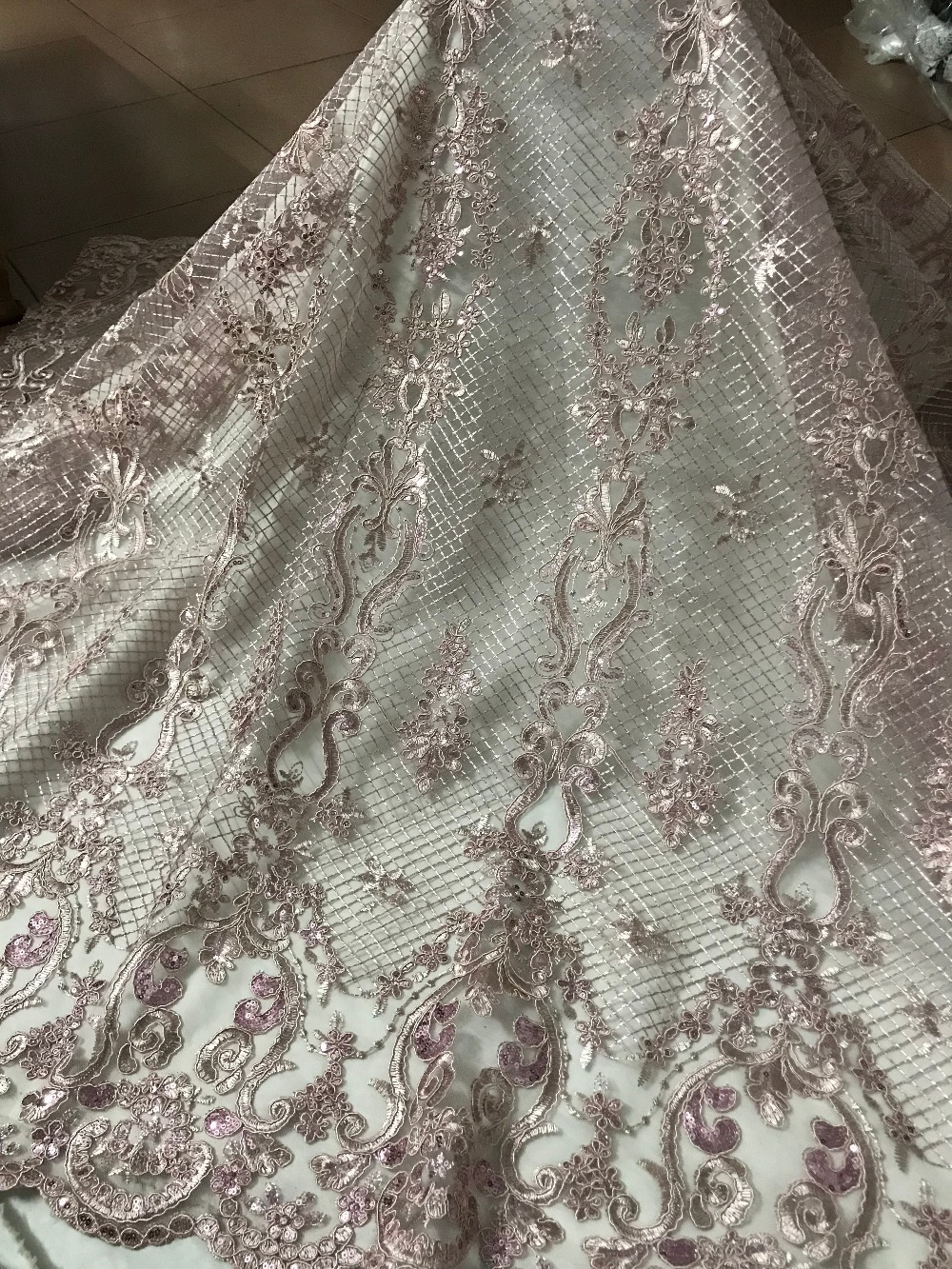 fashion JIANXI C 52020 african french net lace fabric hot sale sequins embroidered tulle lace fabric