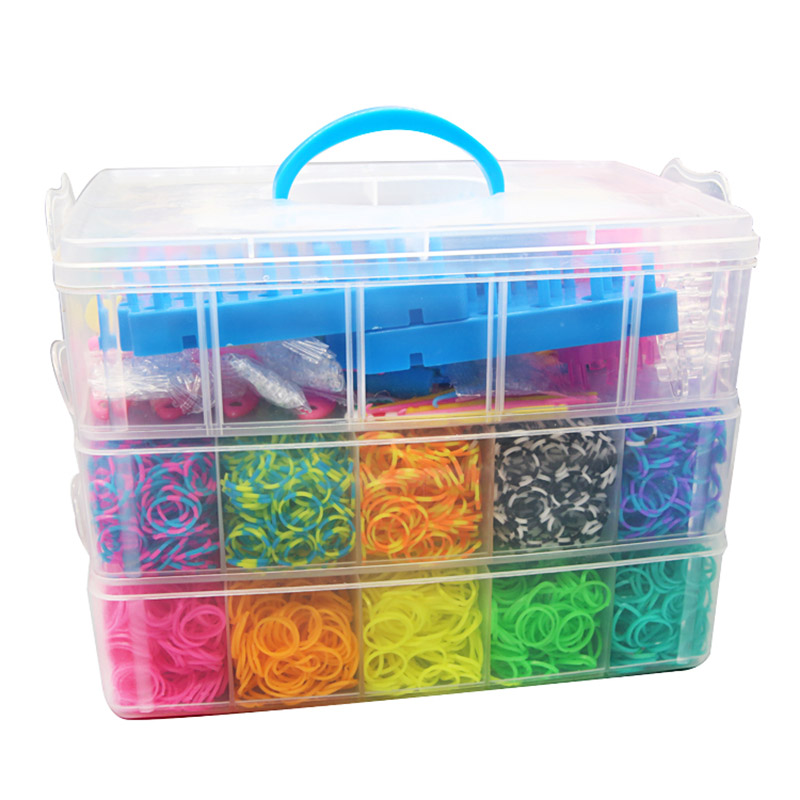 15000pcs 25 Colors Rainbow Rubber Band Set Craft Toy Elastic Bracelet Set Weaving Machine Ribbon Knitted Figures Charms Toy
