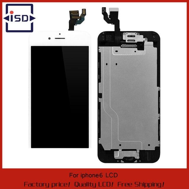 Branco/preto para iphone 6 display lcd touch screen digitador completa substituir + quadro + camera & home button + sensor flex cabo