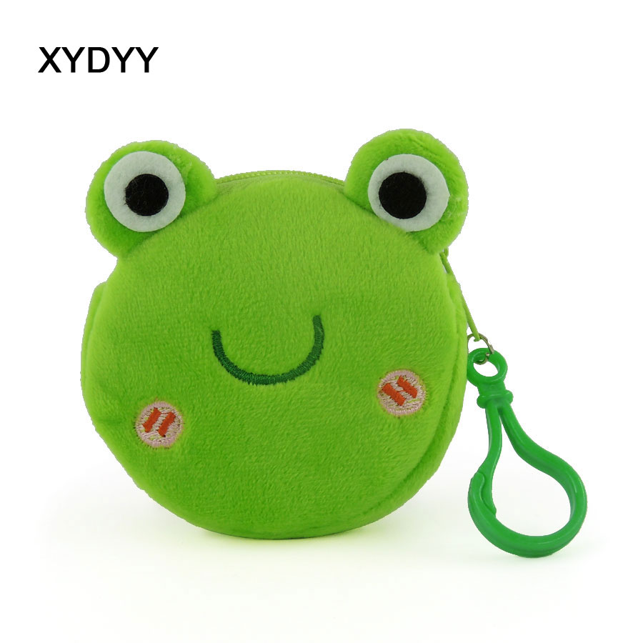 XYDYY Kawaii Frog Dog Cat Prints Women Plush Coin Purse Portable Zipper Keychain Pouch Purse Bag Mini Wallet Handbag for Gift m215 cute cartoon pets akita dog siberian husky personality plush coin purse wallet girl women student gift wholesale
