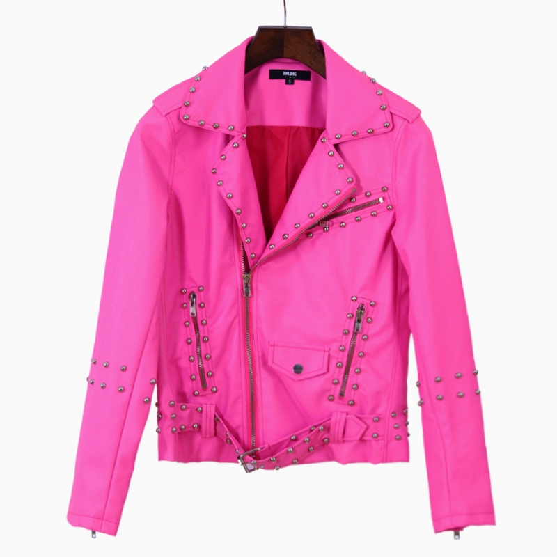 14 autumn and winter fashion Pink leather clothing jacket rivet motorcycle neon leather clothing ...