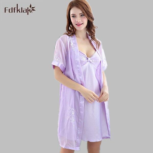 Sommerkleider Lange Silk Robe Satin Kleid Langen Nachthemd Robe Set ...