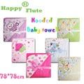 Feliz Flauta 78*78 cm 1 pcs crianças bebê com capuz toalha de banho/desenhos animados do bebê roupão de banho/banho essencial cobertor/bebê