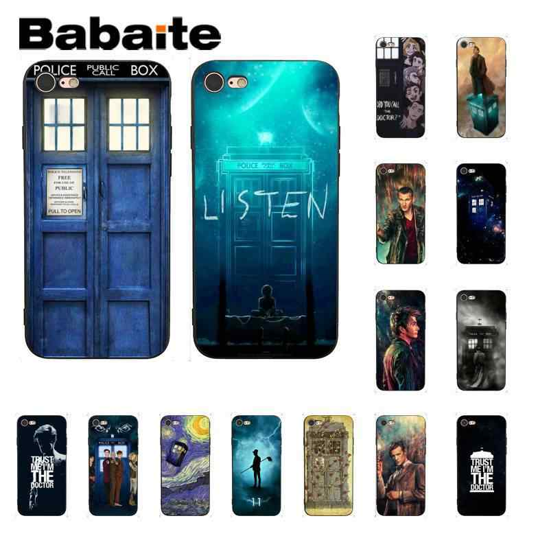 TARDIS Box Dokter Yang TPU Silikon Lembut Hitam Ponsel Case untuk Iphonex X Max 6 6S 7 7 Plus 8 8 PLUS 5 5S XR 11 11pro 11 Promax Kasus