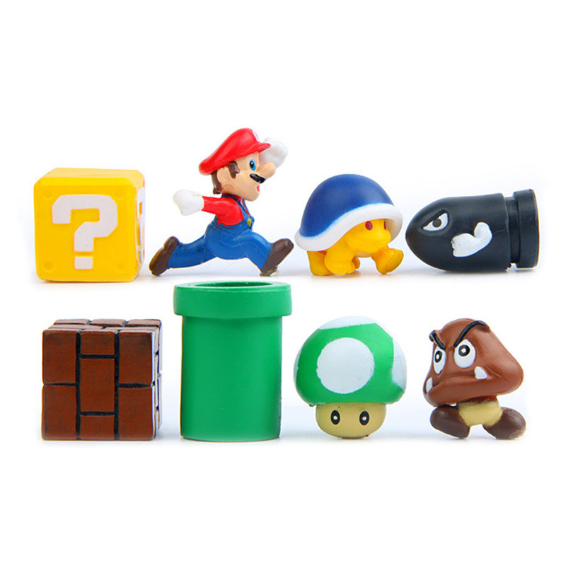 8pcs/set Classic Super Mario Bro Bullet Mushroom Turtle Wall Anime Action Figures Toys Baby Kids Lovely DIY Doll Toys Gifts