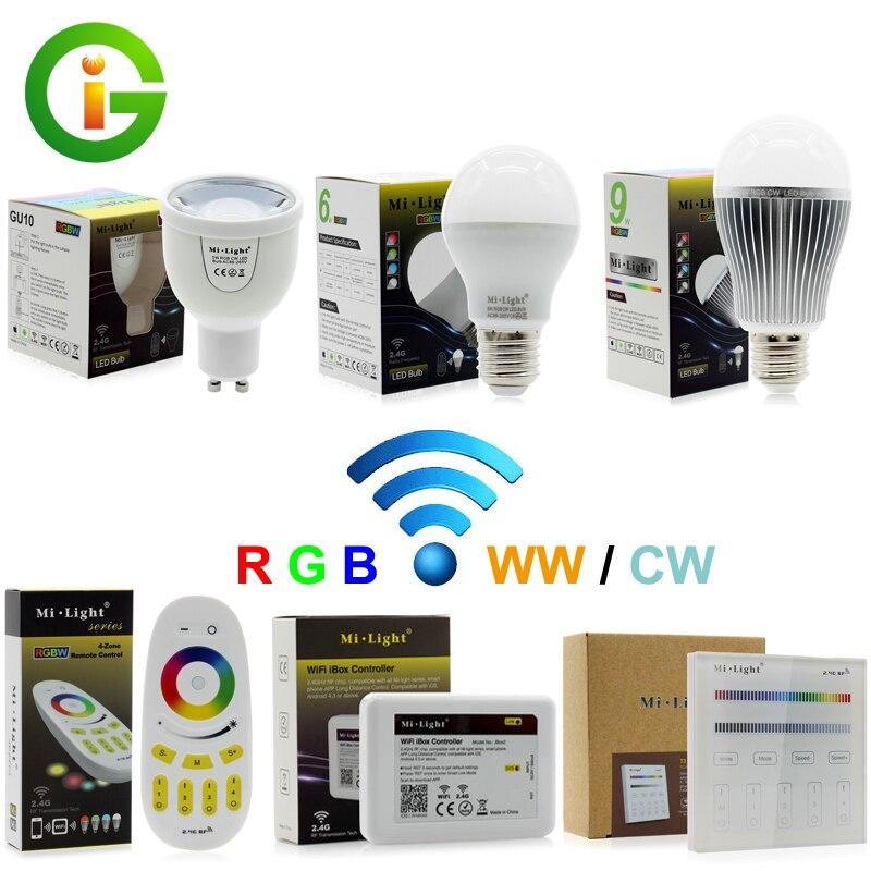 Mi-Light RGBW LED Bulb AC86-265V GU10 5W / E27 6W 9W RGBWW / RGBCW Remote Control Smart Lighting keyshare dual bulb night vision led light kit for remote control drones