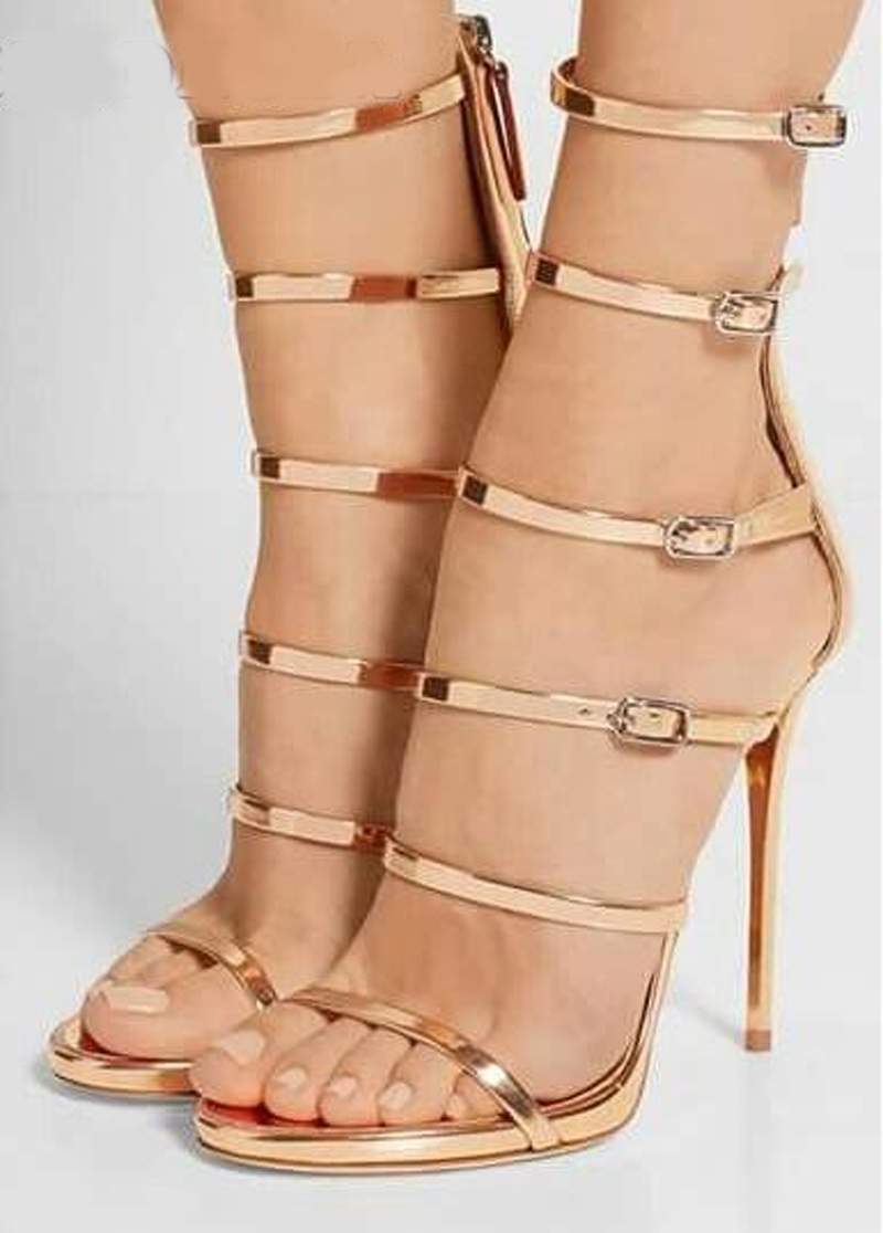 New Design Women Fashion Open Toe 5 Straps High Heel Sandals Cut-out Gold Gladiator Sandals Formal Dress PumpsNew Design Women Fashion Open Toe 5 Straps High Heel Sandals Cut-out Gold Gladiator Sandals Formal Dress Pumps