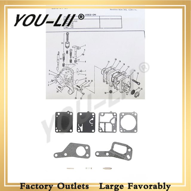 youlii m1m7 for zama m1-m7 rb19 carb kit mcculloch chain saw mini mac 110  120 130 140 carb new di 40080