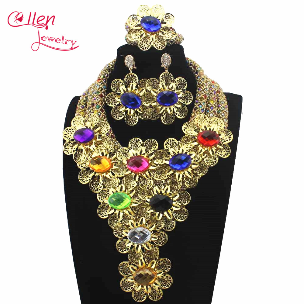 New Luxury African beads jewelry sets india nigerian wedding beads flower beaded necklace dubai jewelry sets W13845New Luxury African beads jewelry sets india nigerian wedding beads flower beaded necklace dubai jewelry sets W13845