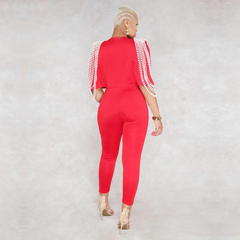Perles 2018 Dropship Salopette Celebrity Rouge Luxe Bandage Mode Noir Sexy Profonde Nouvelle V Rayonne Cou Qualité Femmes De Haute 65RnUxR