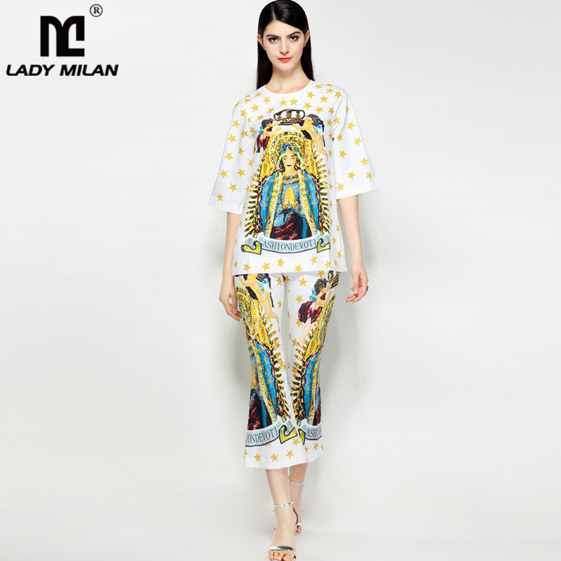 Lady Milan 2018 Womens O Neck 3/4 Sleeves Printed Beaded Blouse with Mid Calf Pants Fashion Two Piece Pants Sets.