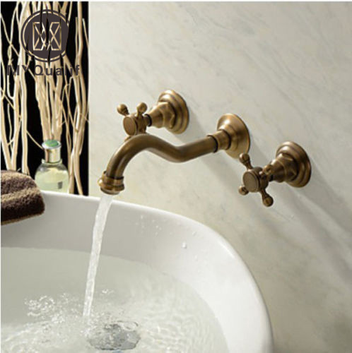 Wall Mount Dual Handles Br Antique Basin Sink Faucet 3 Holes Bathroom Vessel Mixer Taps In Faucets From Home Improvement On Aliexpress