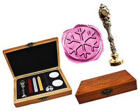 Vintage Christmas Snowflake Luxury Wax Seal Sealing Stamp Brass Peacock Metal Handle Sticks Melting Spoon Wood