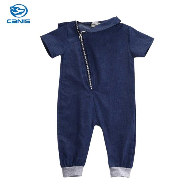 bca2a87f799 Fashion Clothing Zipper Jumpsuit Outfits One pieces 2016 Baby Boys Clothes  Denim Romper Short Sleeve