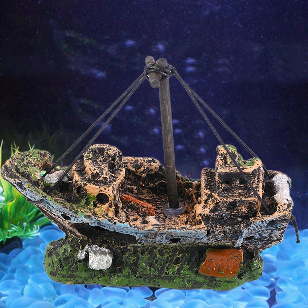 Pirate Ships In Aquariums Aquarium Landscape Decoration Aquarium Accessories Fish Tank Aquarium Resin Boat Ornament in Decorations from Home Garden