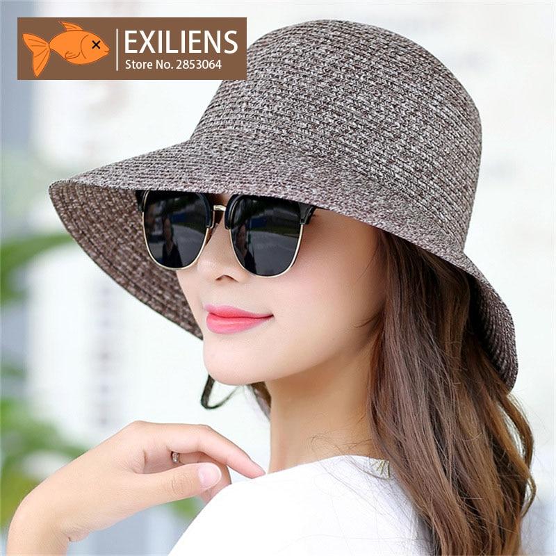 [EXILIENS] 2017 New Lady Fashion Summer Brand Womens Sun Hats Woman Cap Casual Hot Straw Foldable Big Brim Shade Sunscreen Girl