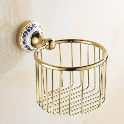 European paper towel basket Golden toilet paper basket bathroom golden copper tissue boxes porcelain bathroom hand carton paper 304 stainless steel tape paper carton waterproof paper towel box toilet roll holder hand hand carton carton