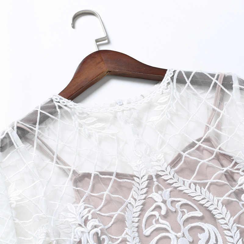 Брендовое подиумное осенне-летнее сексуальное платье с круглым вырезом, бальное платье с расклешенными рукавами, кружевное платье из органзы для женщин