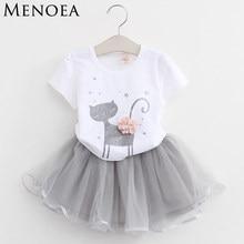 54a29542fdc Для девочек 2018 новые летние Комплекты одежды для маленьких девочек модные  Стиль с рисунком мультяшного котенка футболки + плат.