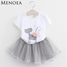 Menoea 2017 Summer New Baby Girls Clothing Sets Fashion Style Cartoon Kitten Printed T-Shirts+Net Veil Dress 2Pcs Girls Clothes
