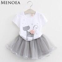 Kids Baby Girls Clothing Sets 2016 New Summer Fashion Style Cartoon Kitten Printed T Shirts Net