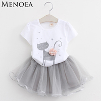 Kids Baby Girls Clothing Sets 2016 New Summer Fashion Style Cartoon Kitten Printed T Shirts Net