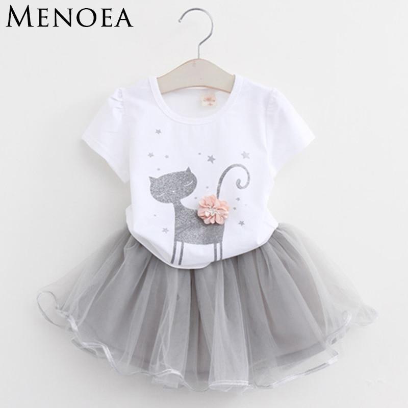 Niñas 2018 verano nueva ropa para niñas conjuntos de moda estilo dibujos animados gatito impreso camisetas + vestido de velo de red 2 piezas unids de ropa para niñas