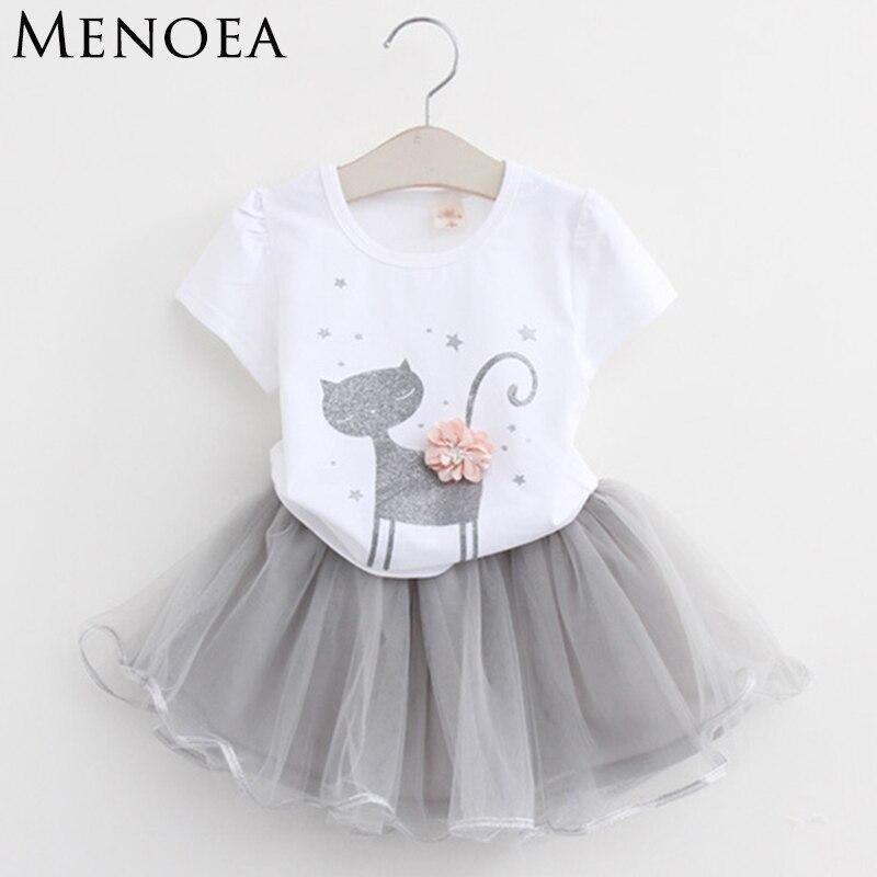 Ragazze di Estate 2018 Nuovo Vestiti per Bambina Set di Stile di Modo Del Fumetto Del Gattino Stampato T-Camicette + Vestito Netto Velo 2 pz vestiti delle ragazze