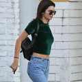 2017 women brand fashion corduroy shirts America Casual Classic solid 5 color cropped Tops