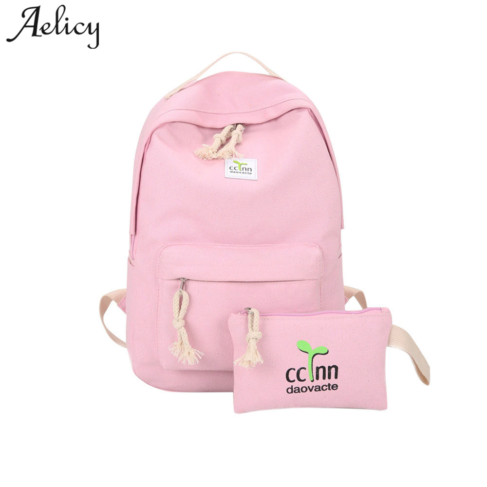 Aelicy Women Backpack 2018 Fashion Korean Travel Canvas Backpack 2018 New Design Solid Zipper Korean Fashion Backpack Schoolbag