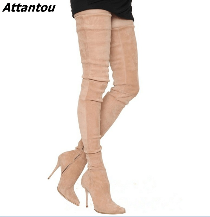 Simply Beige Suede Stiletto Heels Over The Knee High Boots Fancy Women Pointed Toe Slim Fit Thigh High Boots Celebrities in Same