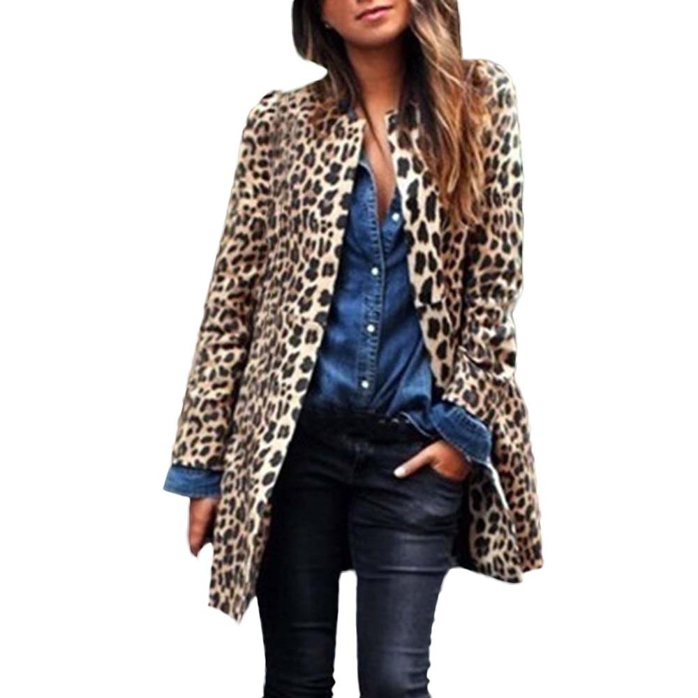 2018 Winter Women Long Coat Warm Wind Coat Cardigan Sexy Leopard Print Long Sleeve Ladies Coat jeans con blazer mujer