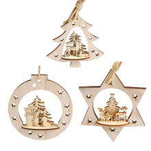 Snowflake Wood Embellishments Rustic Christmas Tree Hanging Ornament Decor for Christmas Holiday Party Home Garden Decor