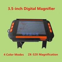4色モード2X-32X hdポータブル電子デジタル拡大鏡ロービジョン読書援助で3.5インチ液晶ディスプレイ両親ギフト
