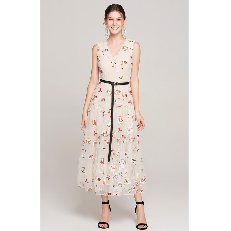 e1d9e478db9c9 US $65.44 22% OFF|summer flower dress 2019 mesh embroidery maxi dress v  neck sleeveless leather belt a line women elegant long dress free  shipping-in ...