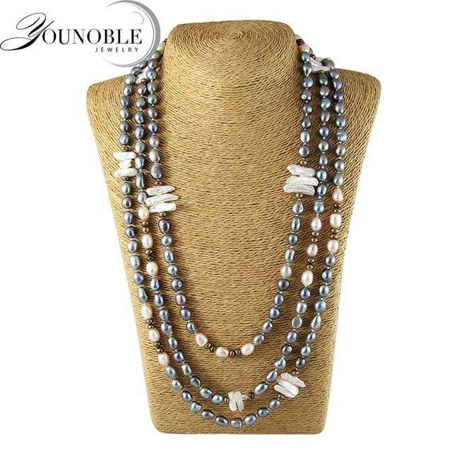 Пресноводное длинные жемчужное ожерелье женщины, мода подлинная природный жемчуг ожерелья свадебные украшения день рождения лучший подарок черный цвет