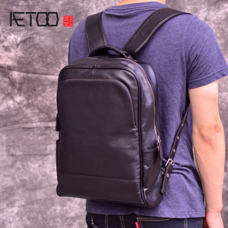 AETOO New trend head cowhide shoulder backpack, leather bag mens business large capacity leisure computer bagAETOO New trend head cowhide shoulder backpack, leather bag mens business large capacity leisure computer bag