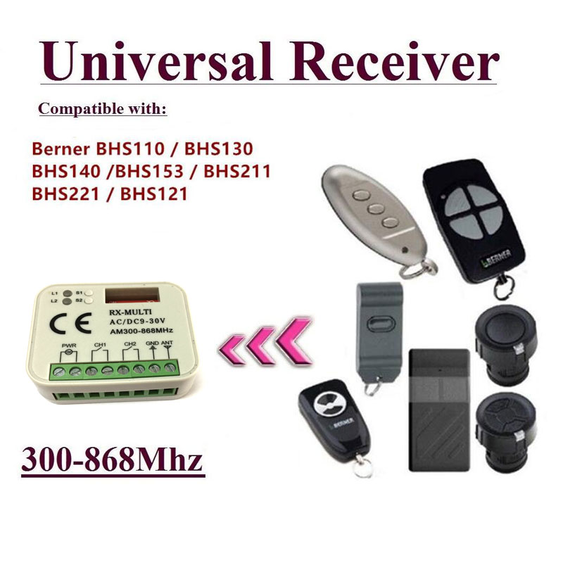 цена Auto Scan Multi frequency 300-868MHz Universal Garage door remote control Receiver for compatible Berner 868MHz receiver
