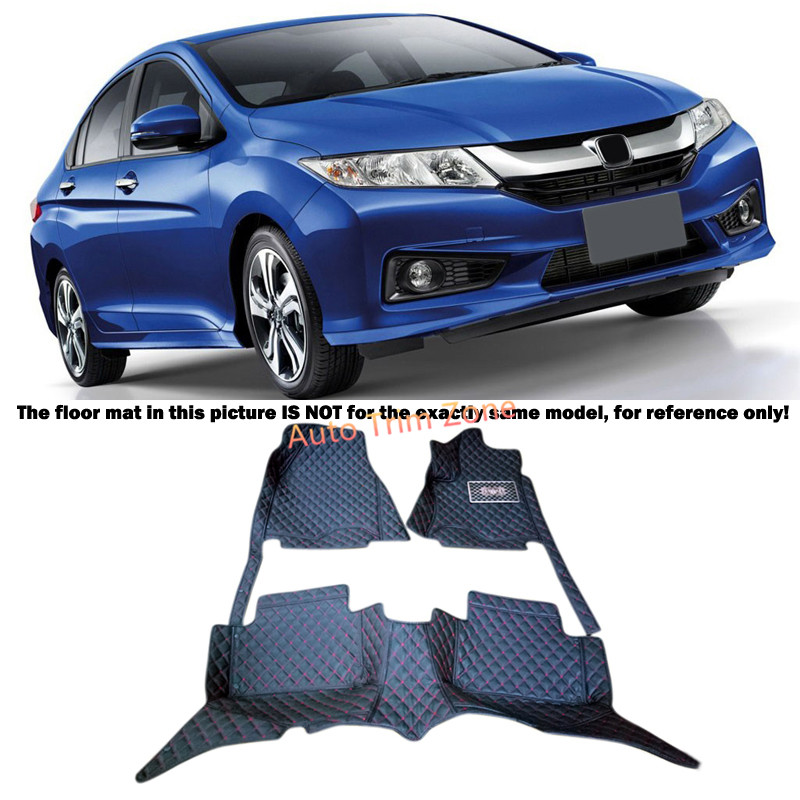 Black Interior Leather Floor Mats & Carpets Foot Pads Protector For Honda City 2015 2016