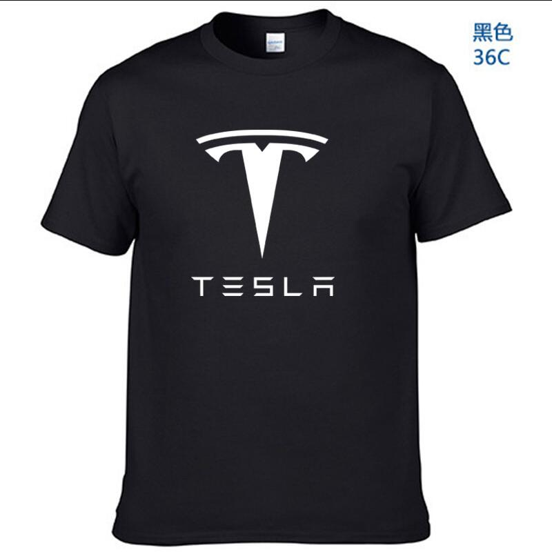 New Tesla Men T Shirts Short Sleeve Round Neck Ringer Letter Printed cotton Male Tees Casual Boy t-shirt Tops many colors