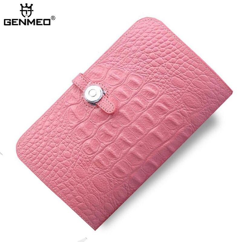 купить GENMEO New Arrival Genuine Leather Wallets Women Cow Leather Passport Crocodile Wallet 2017 Sexy Ladies Clutch Card Holder Purse недорого
