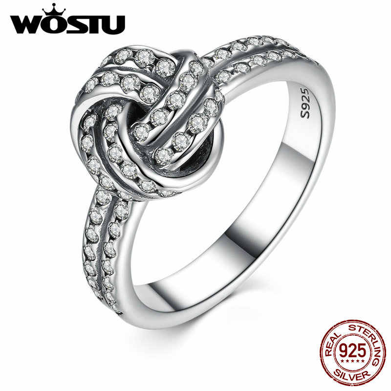 WOSTU 100% Authentic 925 Sterling Silver Sparkling Love Knot Finger Wedding Rings Luxury Ring Jewelry XCH7190