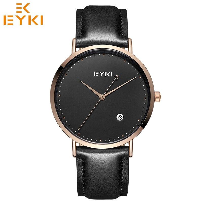 EYKI Relogio feminino masculino Top Brand Luxury Ultra Thin Watches Lovers' Dress Clock Quartz Leather Men Women Watch Gift Box