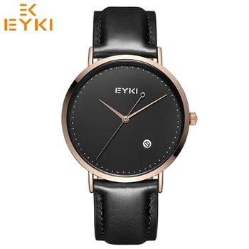 a5cf3dec5 EYKI Relogio feminino masculino Top marca de lujo Ultra delgado relojes  amantes reloj de cuarzo hombres de cuero mujeres reloj caja de regalo