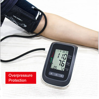 Portable Blood Pressure Meter Digital Arm Tensiometers BP Cuff Wrist Sphygmomanometer Monitor Heart Rate Pulse Black Tonometer