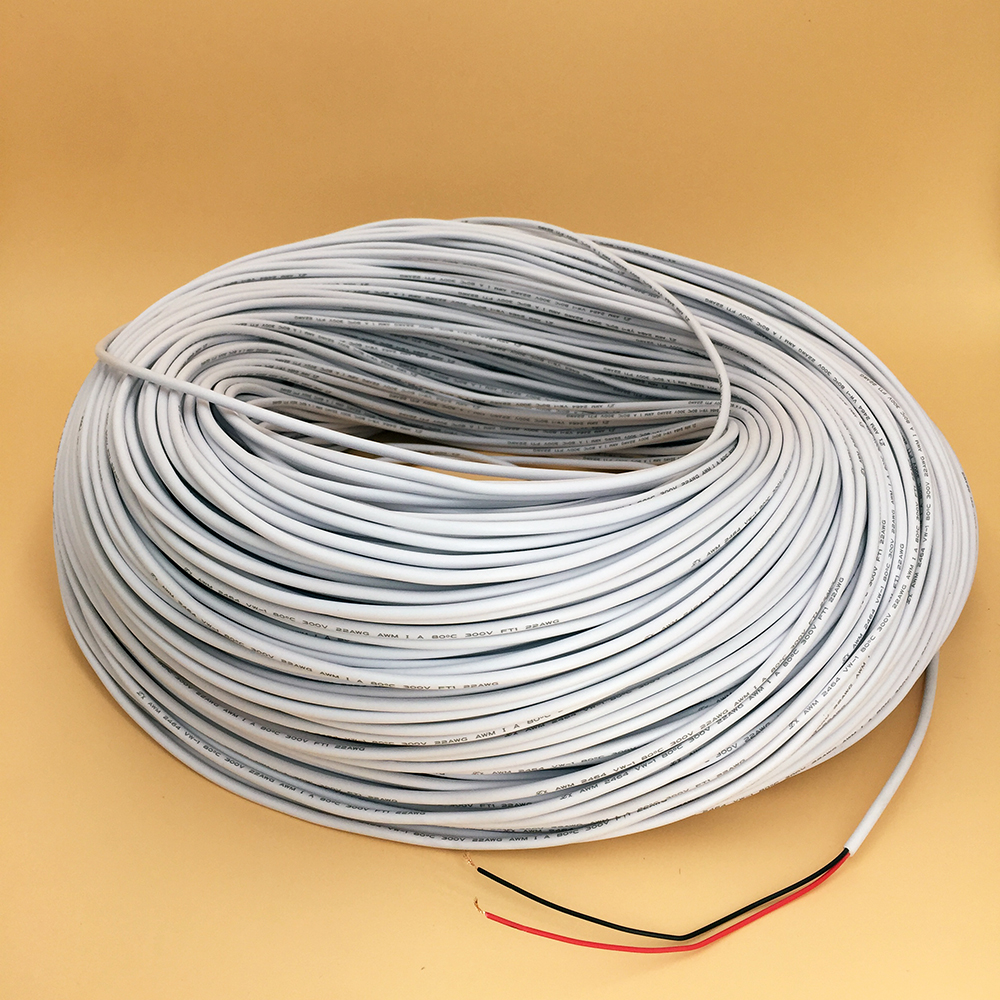 AWG22 <font><b>2Pin</b></font> 3A Rated electrical <font><b>Cable</b></font> wire insulated White Jacketed LED Extension wires for electronics image