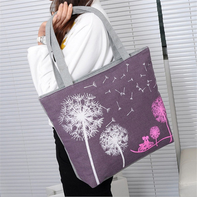 c0584c67a160 Cute Girl Casual Canvas Tote Bag Flower Pattern Women Shopping Handbag for Teenager  Girl Beach Bag