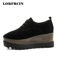 LORFRCIN Brogue Shoes Woman Genuine Leather Platform Shoes Women Creepers Size 34 39 Black Lady Derby