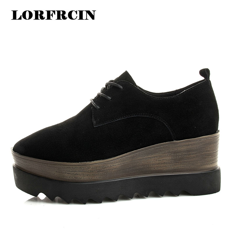 LORFRCIN Brogue Shoes Woman Genuine Leather Platform Shoes Women Creepers Size 34~39 Black Lady Derby Shoe 2017 Femmes Chaussure qmn women crystal embellished natural suede brogue shoes women square toe platform oxfords shoes woman genuine leather flats