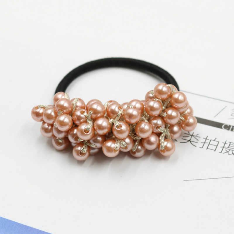 Women Hair Accessories Pearls Beads Headbands Ponytail Holder Girls Scrunchies Vintage Elastic Hair Bands Rubber Rope Headdress